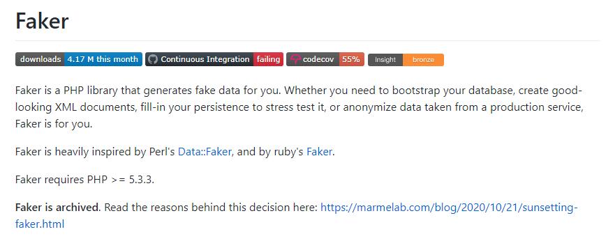 Laravel Faker Package